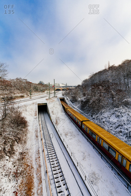 Passing train in the snow