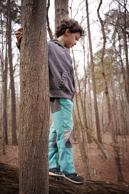 A boy walks on a log between two trees in the forest
