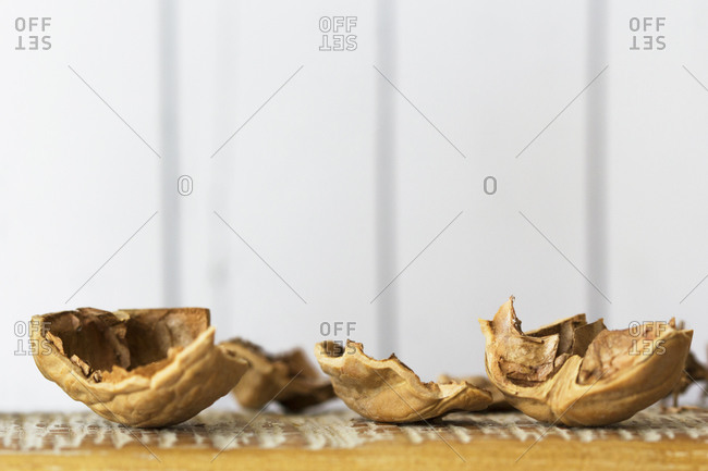 Crushed walnut shells on a tabletop