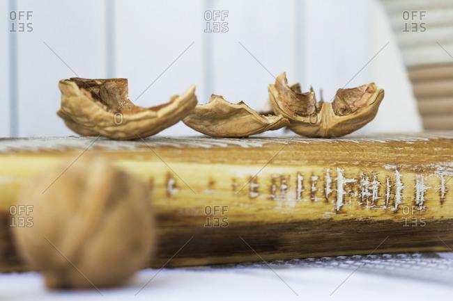 Crushed walnut shells on a cutting board