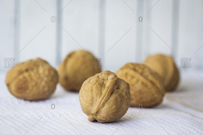 Close up of raw walnuts