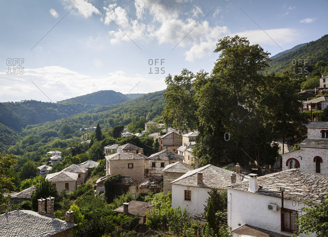 Pinakates village with traditional houses in Pelion peninsula, Greece