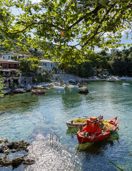 Boat at the Damouchari Harbor in Pelion peninsula, Greece