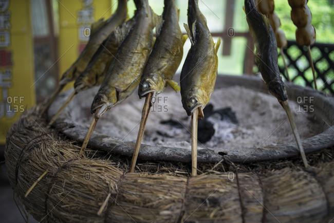 Skewered fish cooking over coals, Fukushima Prefecture, Japan
