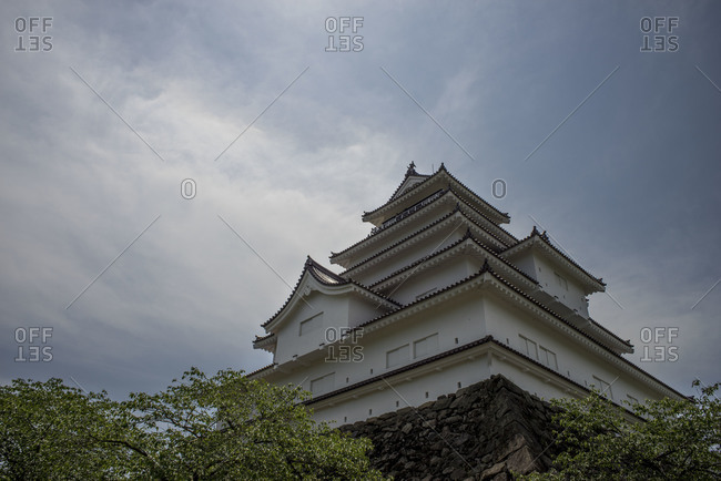 Looking up at Tsuraga Castle in  Aizuwakamatsu, Japan