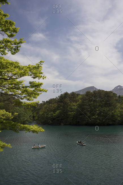 Tourists in rental boats at Goshiki-numa lake, Fukushima Prefecture, Japan