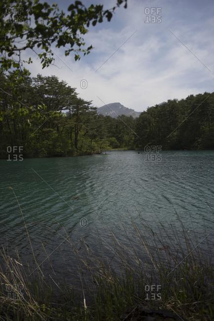 Blue-green water of Goshiki-numa lake, Fukushima Prefecture, Japan