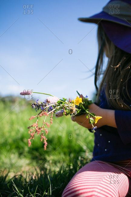 Young girl collecting wildflowers