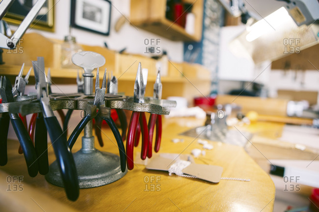 Still life of tools in jewelry makers workshop