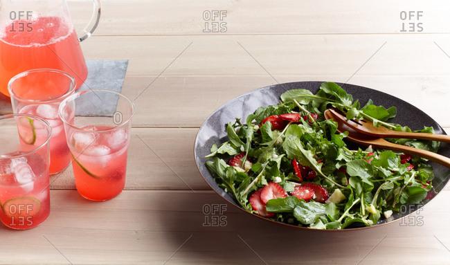 Arugula salad and pink lemonade