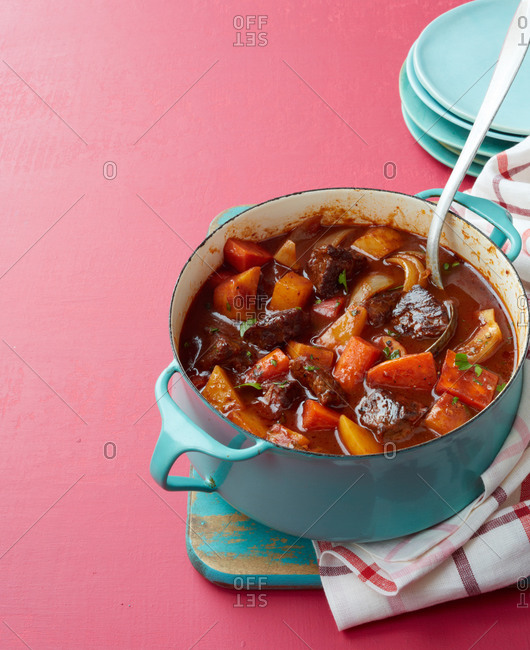 Beef stew in a pot with a ladle