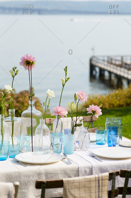 Beautifully set table outdoors