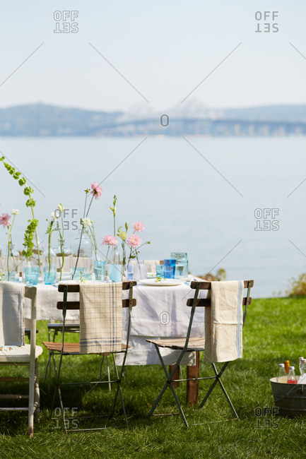 Dining table with flowers outdoors
