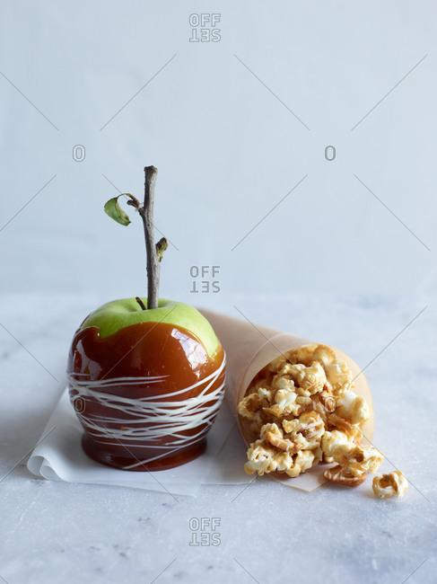 Caramel apple and popcorn
