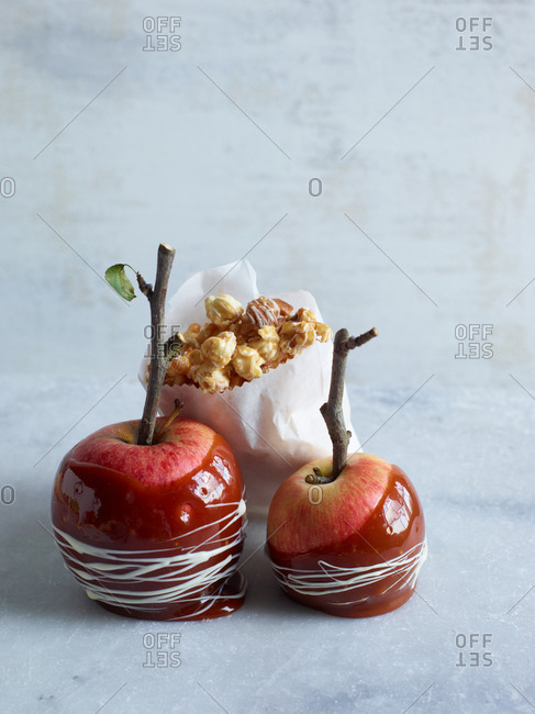 Candy apples and candied popcorn