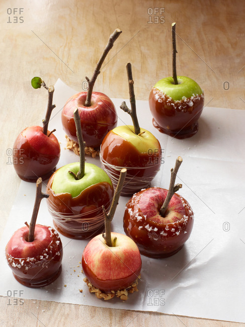 Different kinds of candy apples