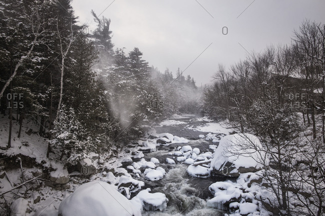A river flowing through the Catskills in winter