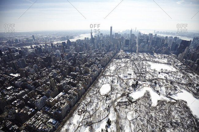 Manhattan and Central Park in winter