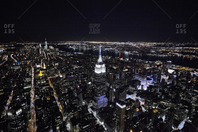 Empire State Building and Manhattan at night