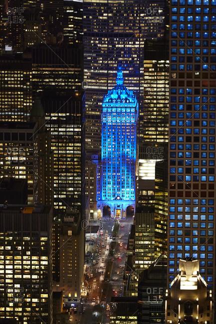 New York City, New York - December 6, 2010: Helmsley Building in blue light