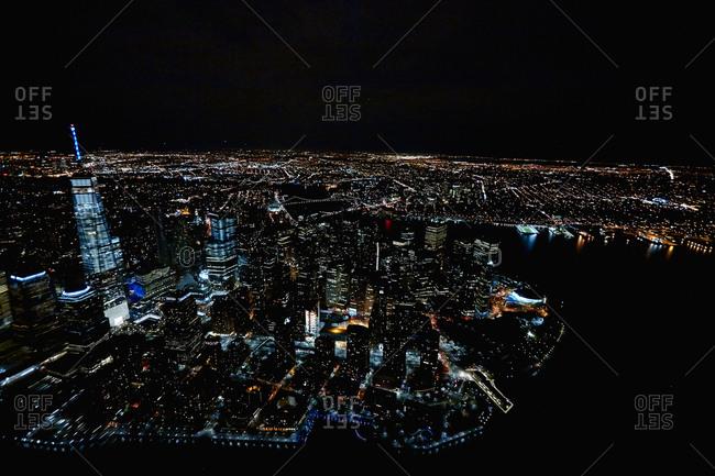 Lower Manhattan lights at night