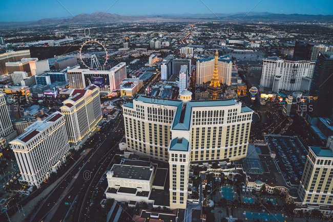 Las Vegas Neveda - January 7, 2015: Downtown Las Vegas at dusk