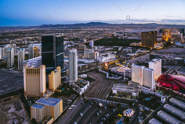 Las Vegas Neveda - January 7, 2015: Downtown Las Vegas at twilight