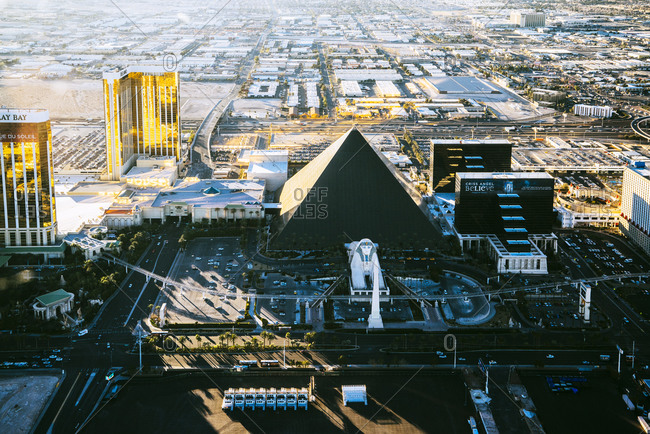 Las Vegas Neveda - January 7, 2015: Luxor Hotel from the air