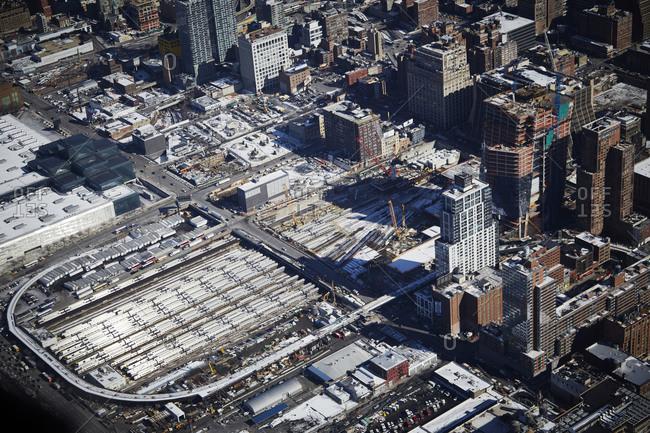 New York City, New York - February 11, 2015: Hudson Yards under construction