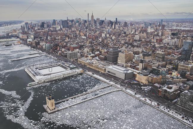 Frozen Hudson River shoreline