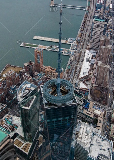 New York City, New York - March 15, 2015: Spire of One World Trade Center