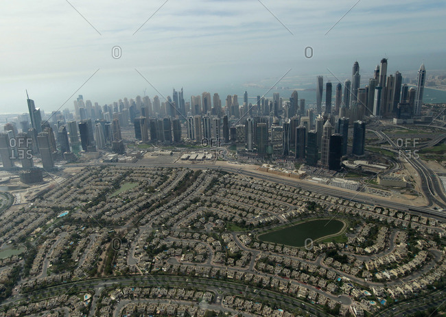Dubai downtown and residential area