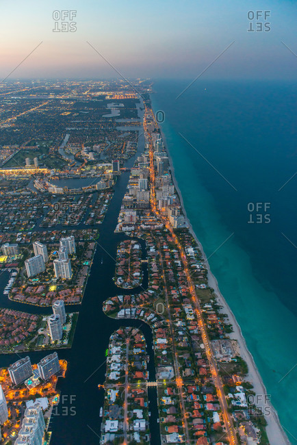Neighborhoods and highway along Florida coast