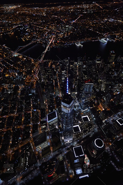 One World Trade Center in New York at night