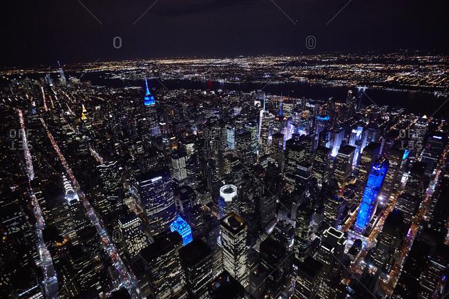 Manhattan night from the sky