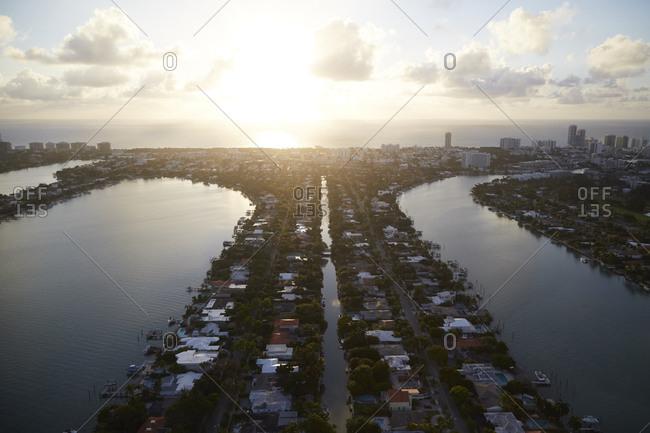 Miami neighborhoods at sunrise