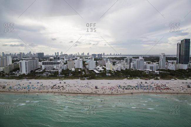 Crowded beach in Miami