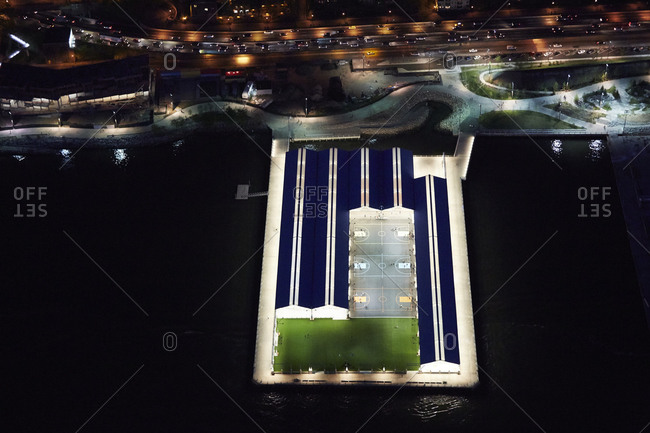 Soccer field on pier in NYC