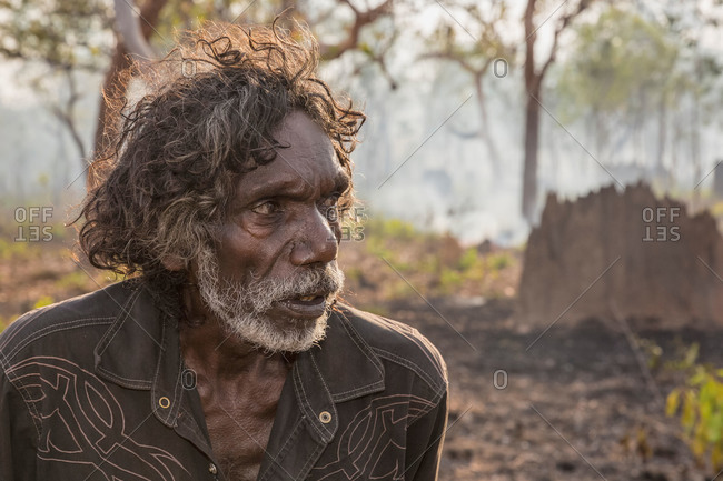 Arnhem Land, Northern Territory, Australia - October 17, 2013: Portrait of Barrappa elder Tom Noytuna (Woiduna/Preying Mantis) at the Stone Country, Arnhem Land