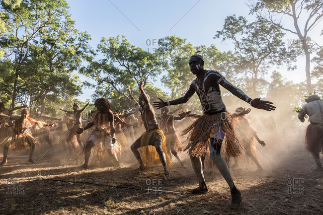 Laura, Queensland, Australia - June 23, 2013: Dancers performing at the Laura Aboriginal Dance Festival