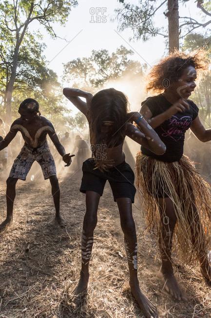 Laura, Queensland, Australia - June 23, 2013: Children dancing at the Laura Aboriginal Dance Festival