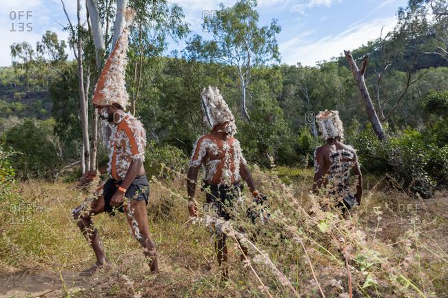 Laura, Queensland, Australia - June 22, 2013: Tribesmen at the Laura Aboriginal Dance Festival