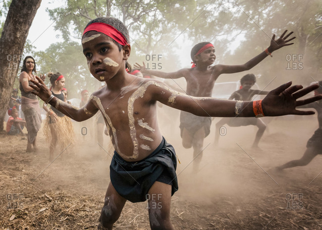 Laura, Queensland, Australia - June 22, 2013: Boys performing at the Laura Aboriginal Dance Festival