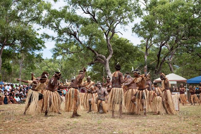 Laura, Queensland, Australia - June 21, 2013: Warriors performing a tribal dance at the Laura Aboriginal Dance Festival
