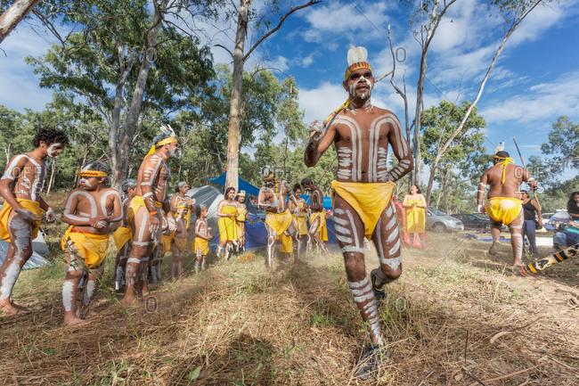 Laura, Queensland, Australia - June 22, 2013: Tribal dancers performing at the Laura Aboriginal Dance Festival