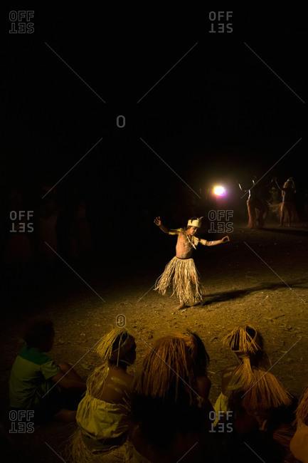 Laura, Queensland, Australia - June 23, 2013: Boy performing a tribal dance at the Laura Aboriginal Dance Festival
