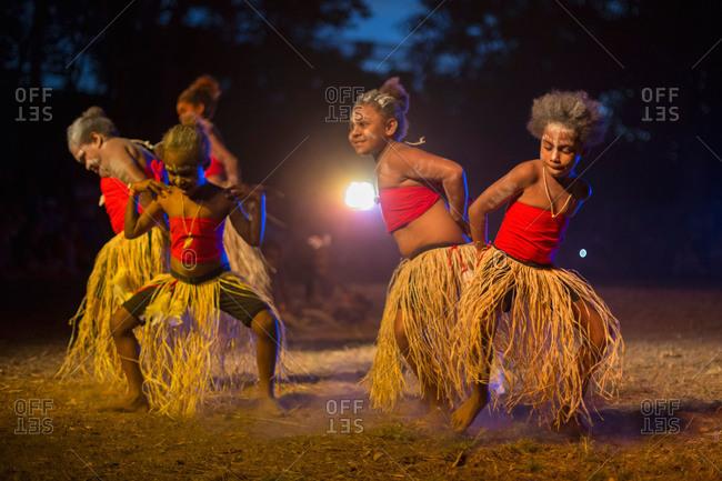 Laura, Queensland, Australia - June 21, 2013: Girls performing a tribal dance at the Laura Aboriginal Dance Festival