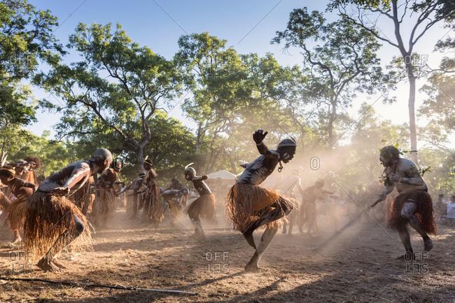 Laura, Queensland, Australia - June 23, 2013: Warriors dancing at the Laura Aboriginal Dance Festival