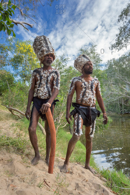 Laura, Queensland, Australia - June 22, 2013: Tribesmen wearing traditional headdresses at the Laura Aboriginal Dance Festival