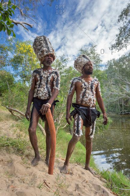 Laura, Queensland, Australia - June 22, 2013: Tribesmen wearing traditional headdresses at the Laura Aboriginal Dance Festival